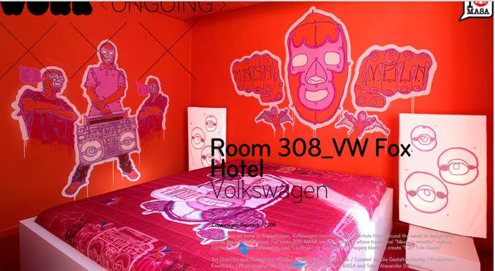 Projeto de quarto de hotal para a Volkswagen, que chamou 21 artistas para decorarem um hotel. Masa ainda fez mais um quarto e o pattern do tapete de entrada