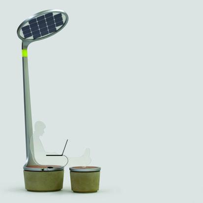 Sun station – Julen Aguirre-Bielschowiski criou este poste de iluminação pública que usa energia solar. Simples e muito eficiente. Porque não estão na maioria das cidades?