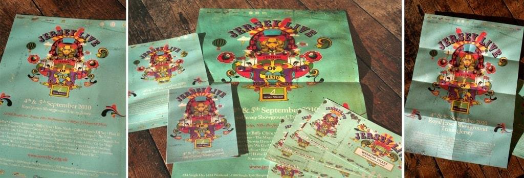 Identidade e material do Festival Jersey Live